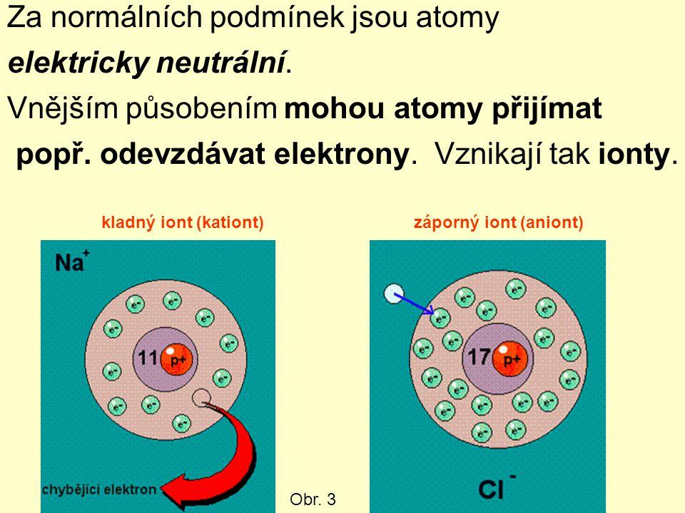 Za normálních podmínek jsou atomy elektricky neutrální.