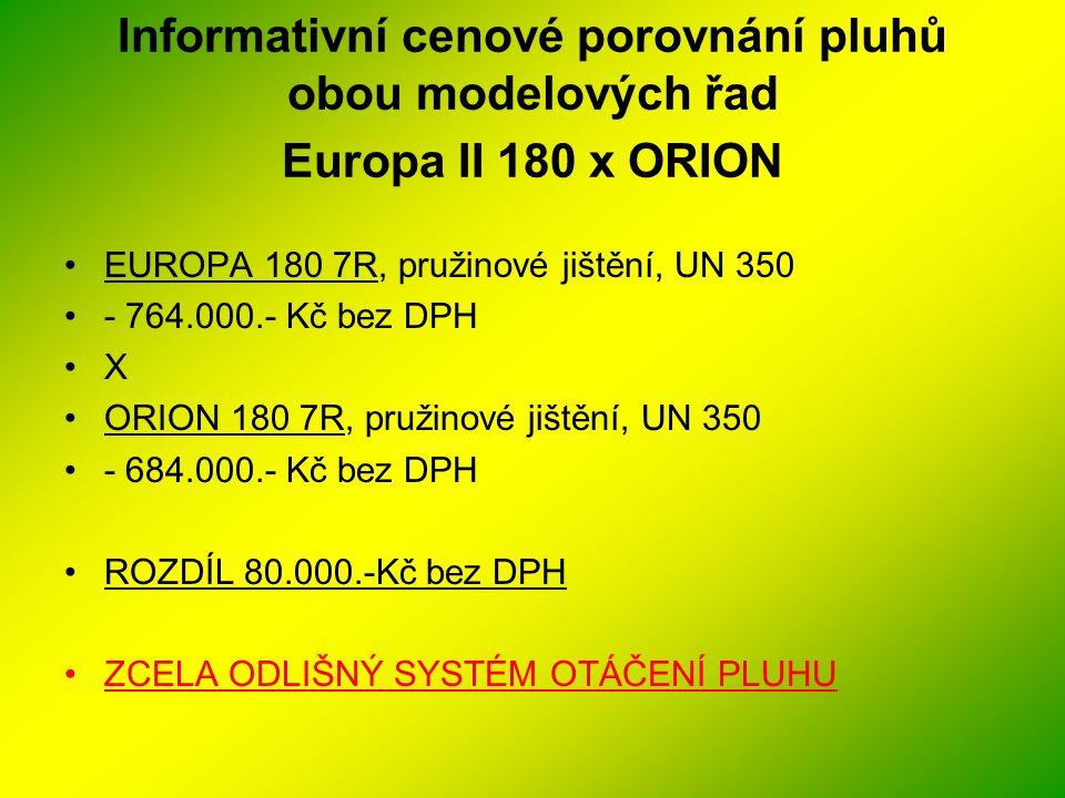 Informativní cenové porovnání pluhů obou modelových řad Europa II 180 x ORION