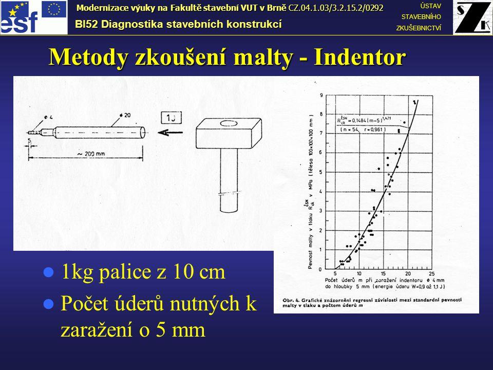Metody zkoušení malty - Indentor