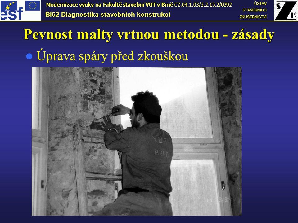 Pevnost malty vrtnou metodou - zásady