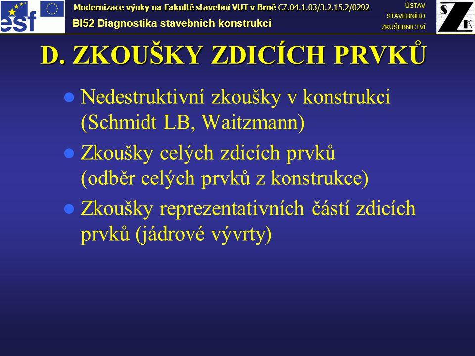 D. ZKOUŠKY ZDICÍCH PRVKŮ