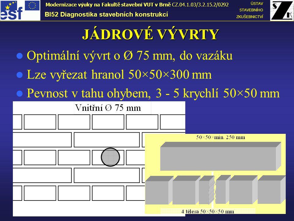 JÁDROVÉ VÝVRTY Optimální vývrt o Ø 75 mm, do vazáku