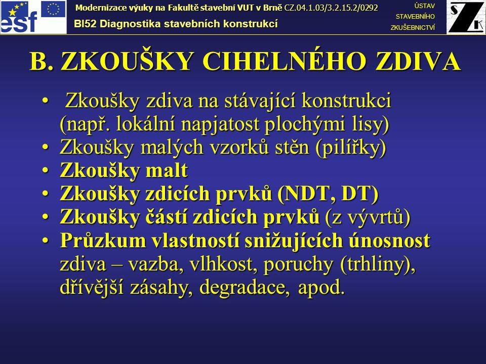 B. ZKOUŠKY CIHELNÉHO ZDIVA