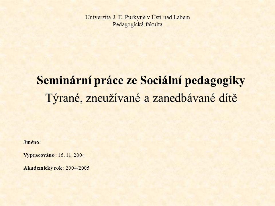 Univerzita J. E. Purkyně v Ústí nad Labem Pedagogická fakulta