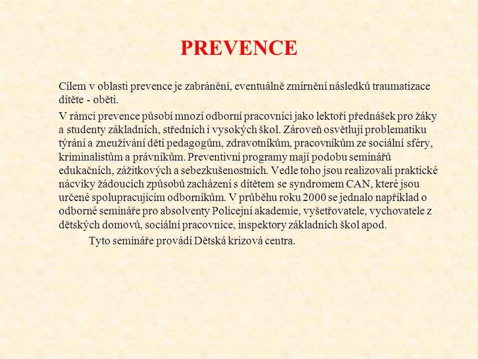 PREVENCE Cílem v oblasti prevence je zabránění, eventuálně zmírnění následků traumatizace dítěte - oběti.