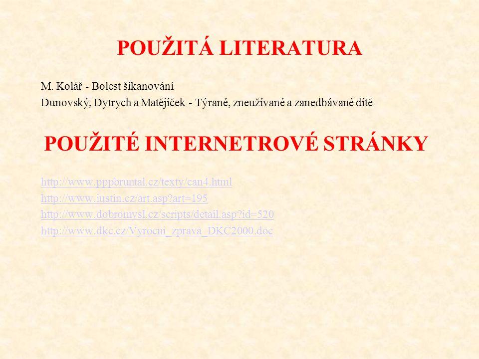 POUŽITÁ LITERATURA M. Kolář - Bolest šikanování
