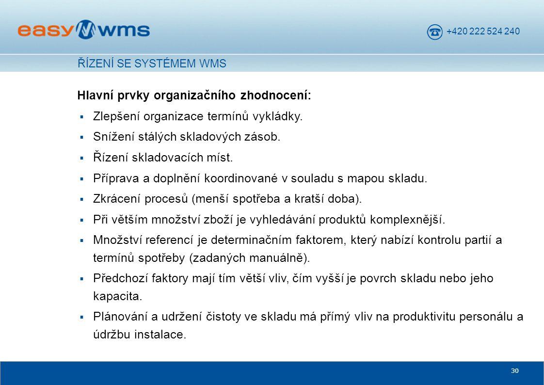 Hlavní prvky organizačního zhodnocení: