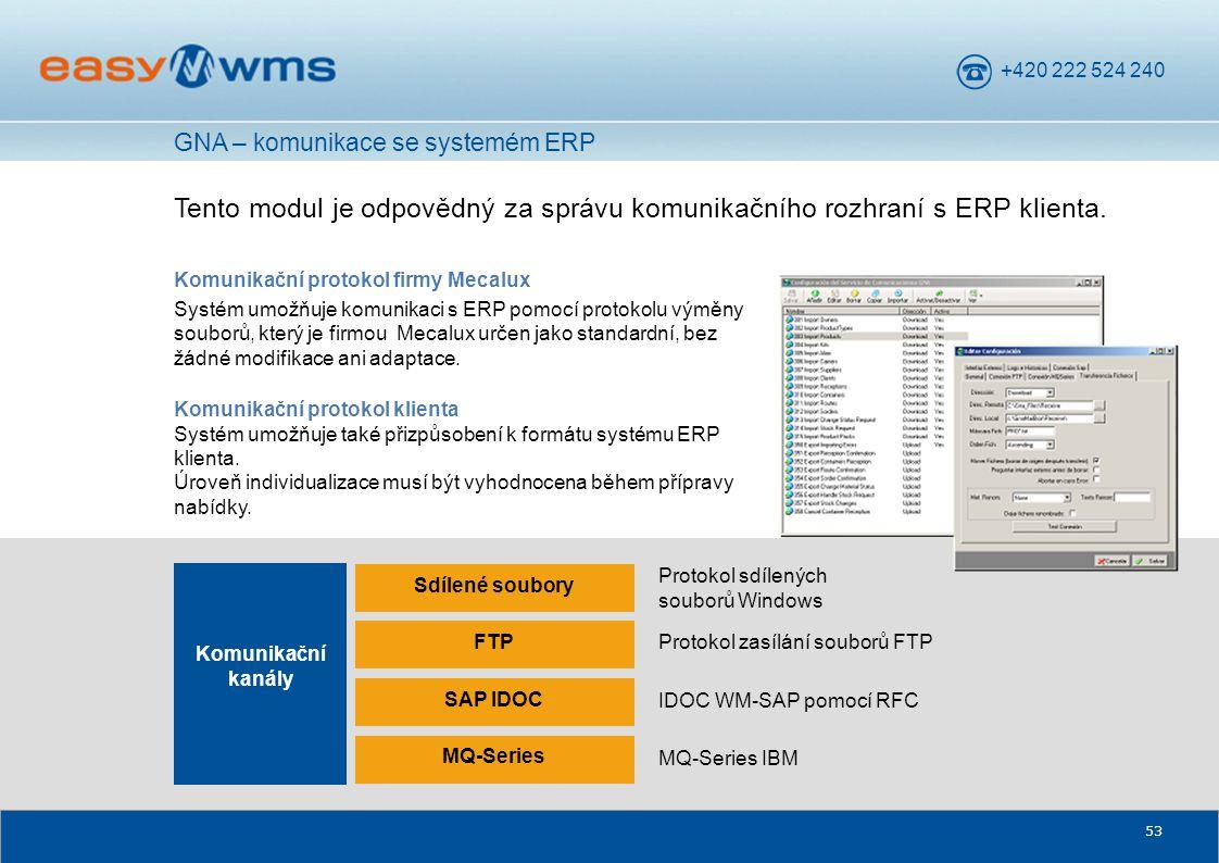 GNA – komunikace se systemém ERP