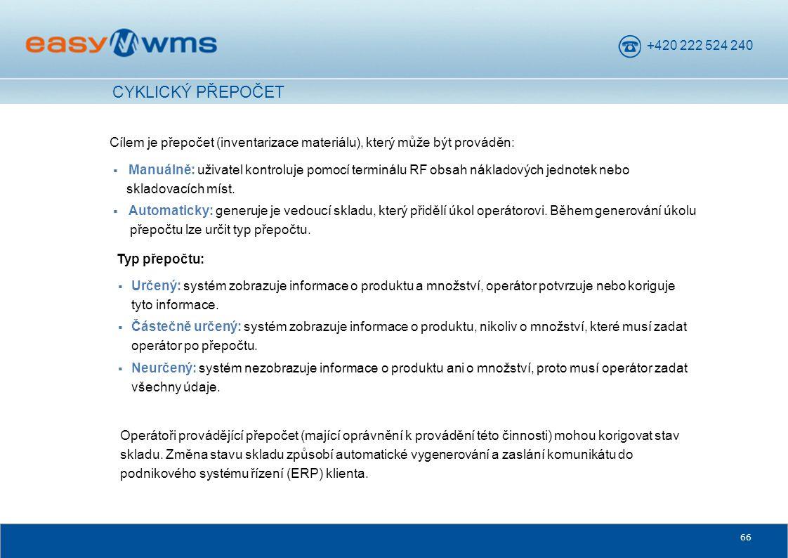 CYKLICKÝ PŘEPOČET Cílem je přepočet (inventarizace materiálu), který může být prováděn: