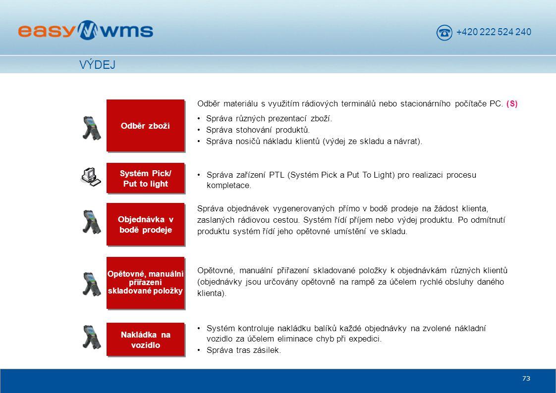 VÝDEJ Odběr materiálu s využitím rádiových terminálů nebo stacionárního počítače PC. (S) Odběr zboží.