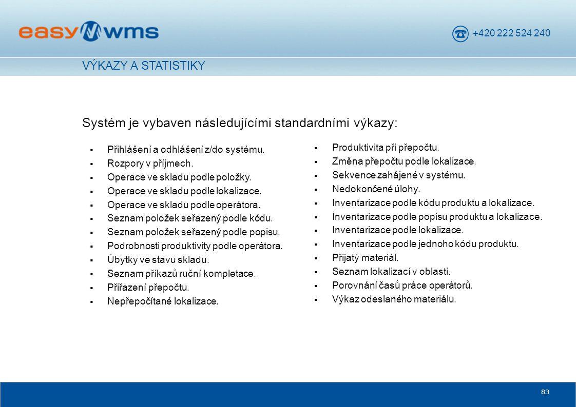 Systém je vybaven následujícími standardními výkazy:
