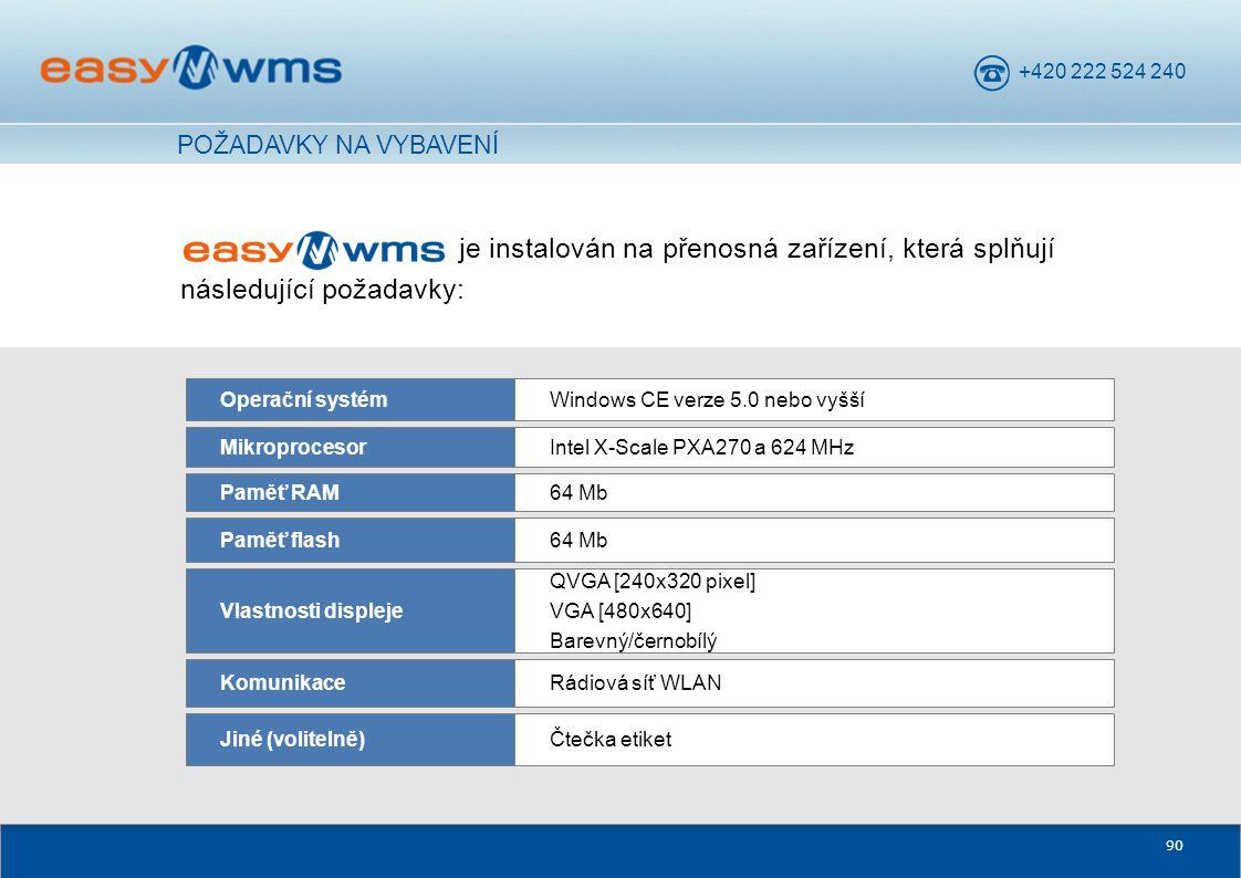 POŽADAVKY NA VYBAVENÍ je instalován na přenosná zařízení, která splňují následující požadavky: Operační systém.