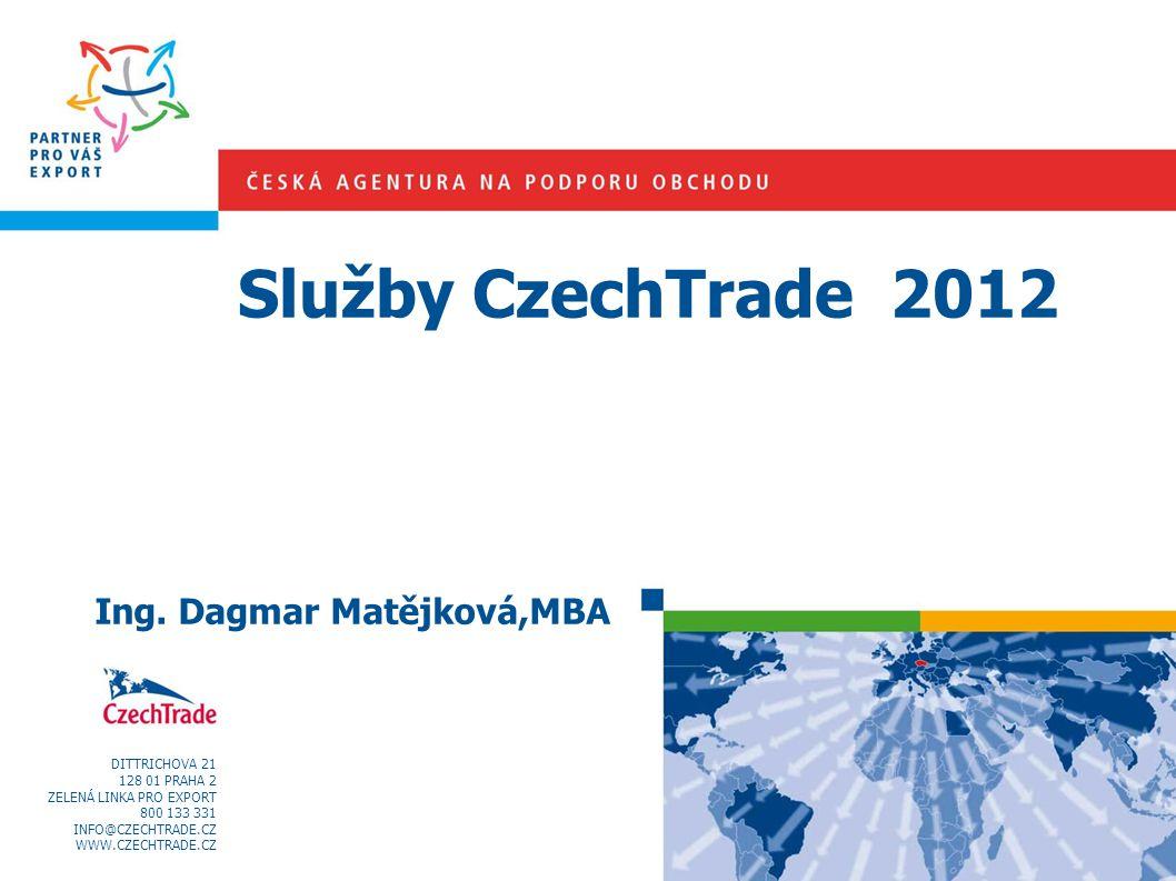 Služby CzechTrade 2012 Ing. Dagmar Matějková,MBA DITTRICHOVA 21