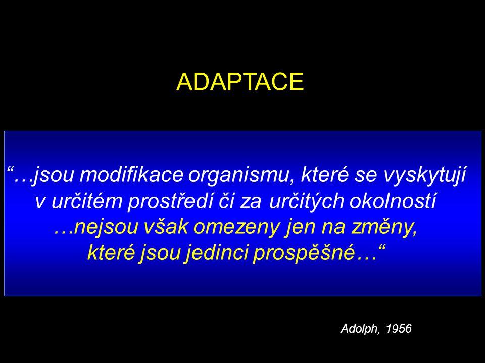 ADAPTACE …jsou modifikace organismu, které se vyskytují