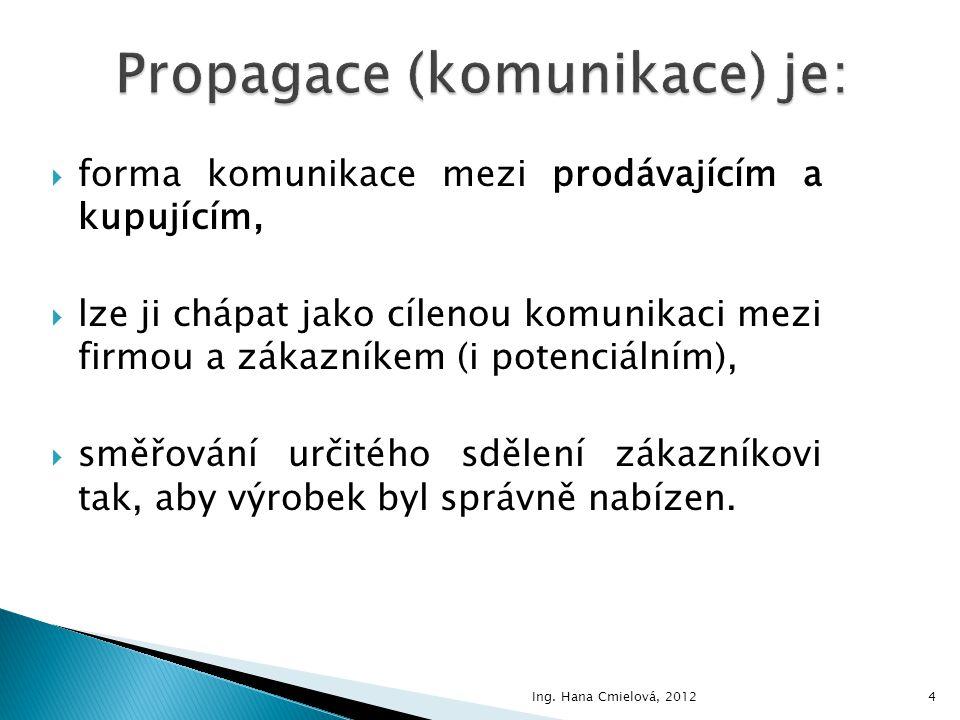 Propagace (komunikace) je: