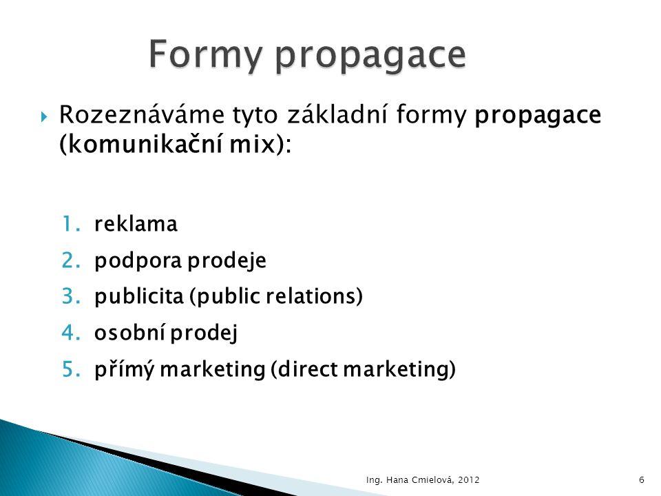 Formy propagace Rozeznáváme tyto základní formy propagace (komunikační mix): reklama. podpora prodeje.
