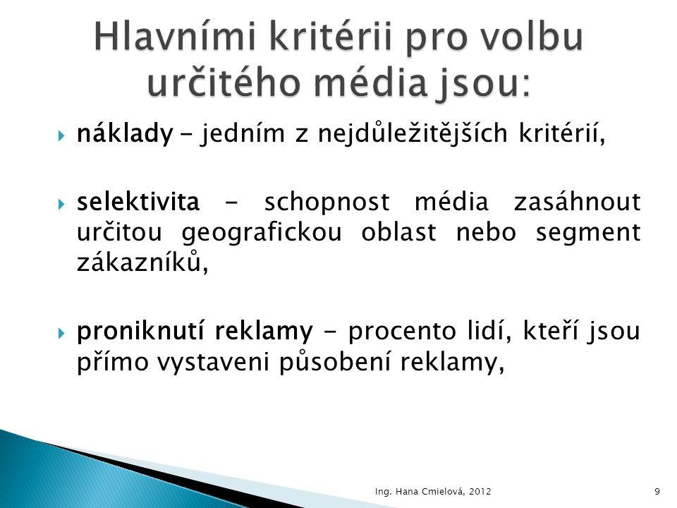 Hlavními kritérii pro volbu určitého média jsou: