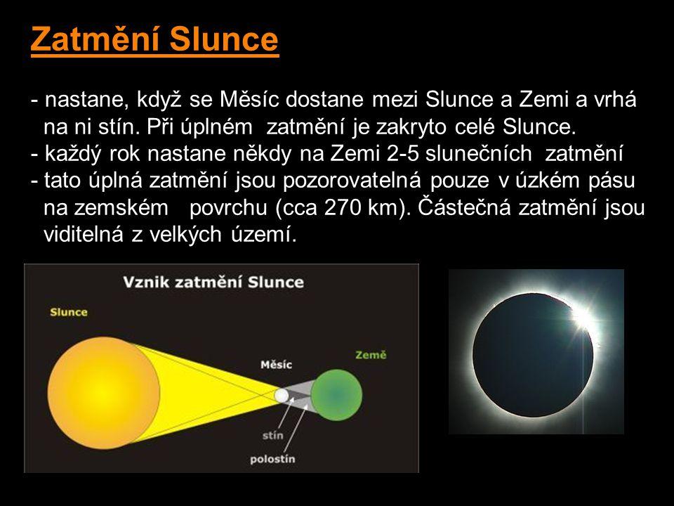 Zatmění Slunce nastane, když se Měsíc dostane mezi Slunce a Zemi a vrhá. na ni stín. Při úplném zatmění je zakryto celé Slunce.