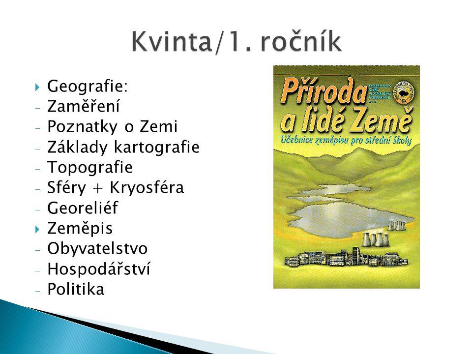 Kvinta/1. ročník Geografie: Zaměření Poznatky o Zemi