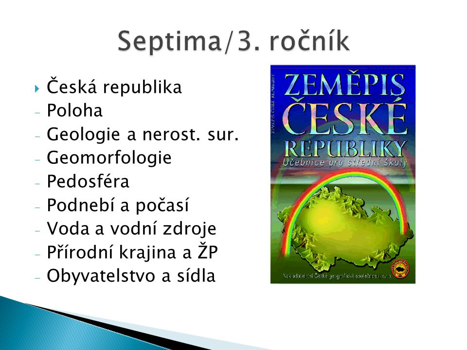 Septima/3. ročník Česká republika Poloha Geologie a nerost. sur.