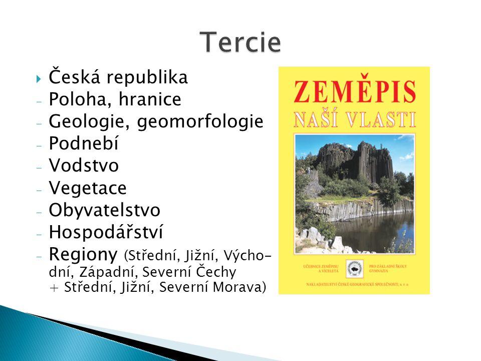 Tercie Česká republika Poloha, hranice Geologie, geomorfologie Podnebí