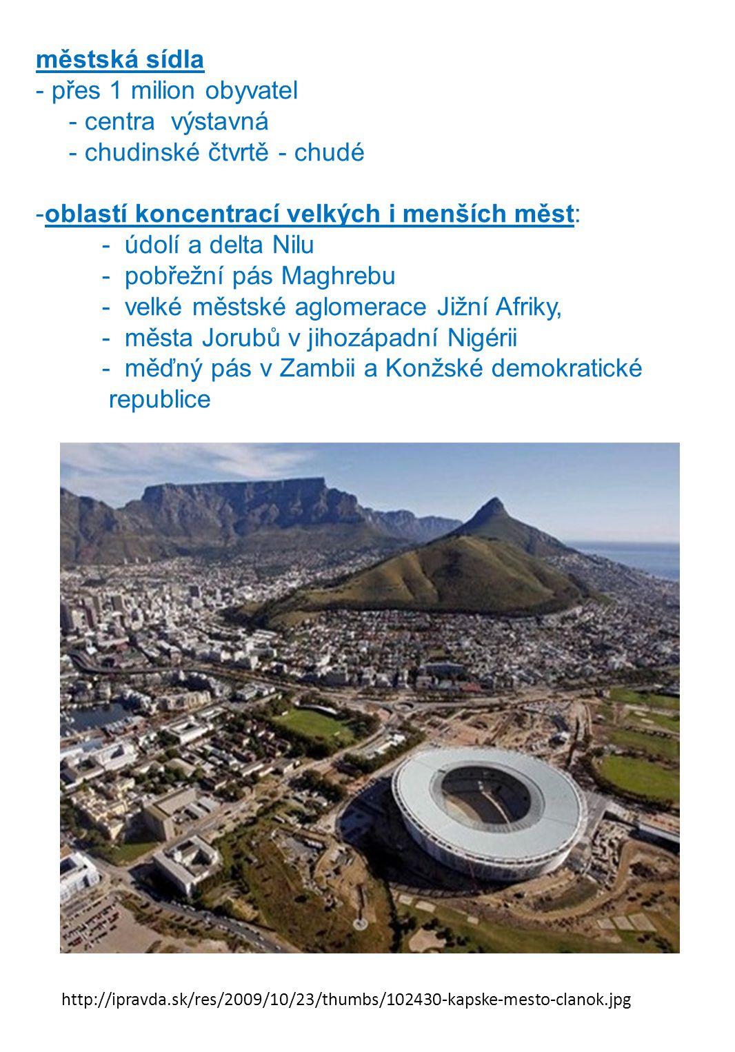 chudinské čtvrtě - chudé oblastí koncentrací velkých i menších měst: