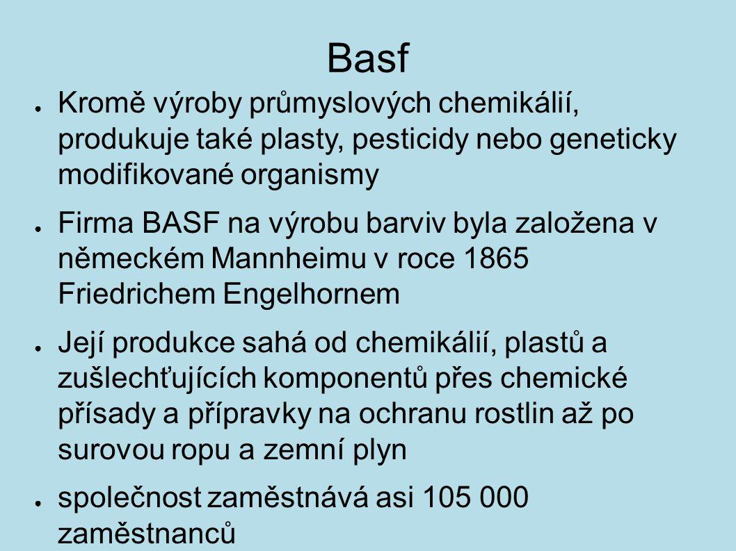 Basf Kromě výroby průmyslových chemikálií, produkuje také plasty, pesticidy nebo geneticky modifikované organismy.