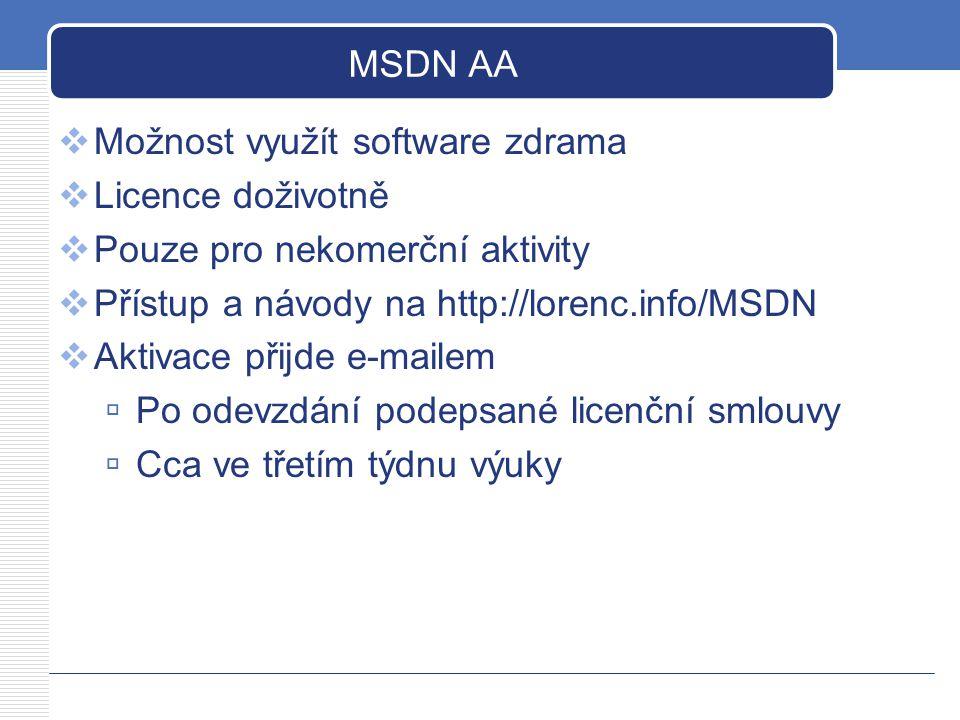 MSDN AA Možnost využít software zdrama. Licence doživotně. Pouze pro nekomerční aktivity. Přístup a návody na http://lorenc.info/MSDN.