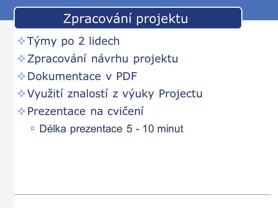Zpracování projektu Týmy po 2 lidech Zpracování návrhu projektu