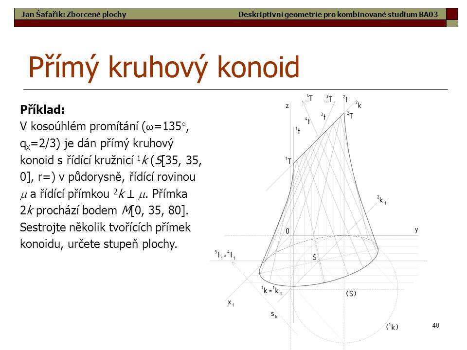 Přímý kruhový konoid Příklad:
