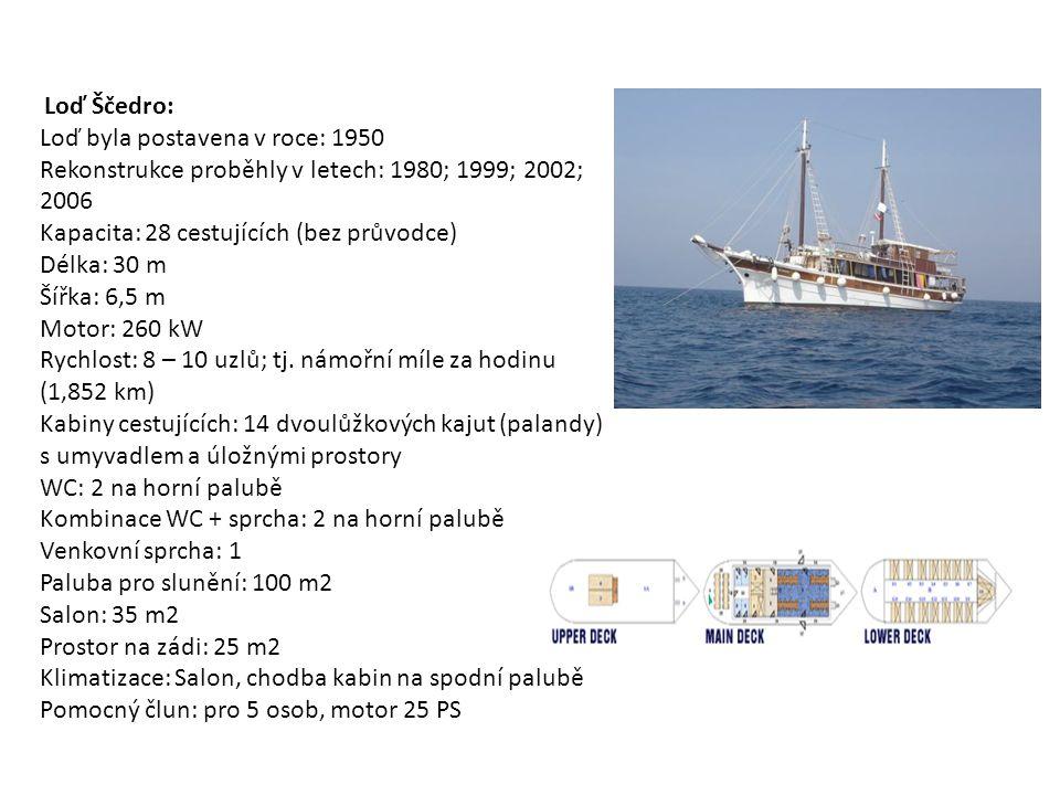 Loď Ščedro: Loď byla postavena v roce: 1950 Rekonstrukce proběhly v letech: 1980; 1999; 2002; 2006 Kapacita: 28 cestujících (bez průvodce) Délka: 30 m Šířka: 6,5 m Motor: 260 kW Rychlost: 8 – 10 uzlů; tj.