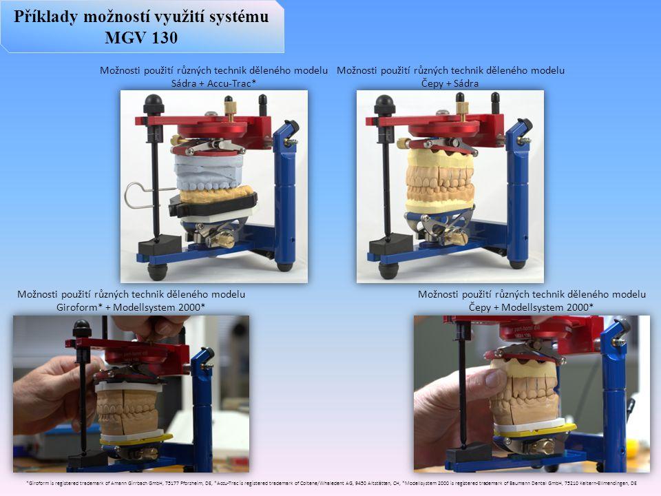 Příklady možností využití systému MGV 130