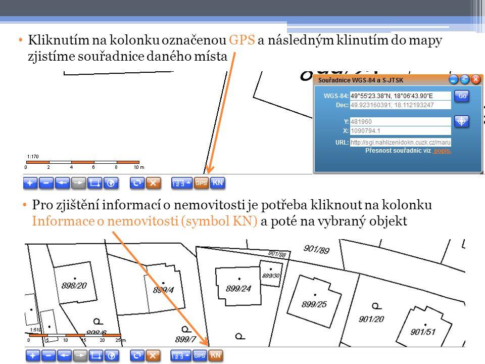 Kliknutím na kolonku označenou GPS a následným klinutím do mapy zjistíme souřadnice daného místa
