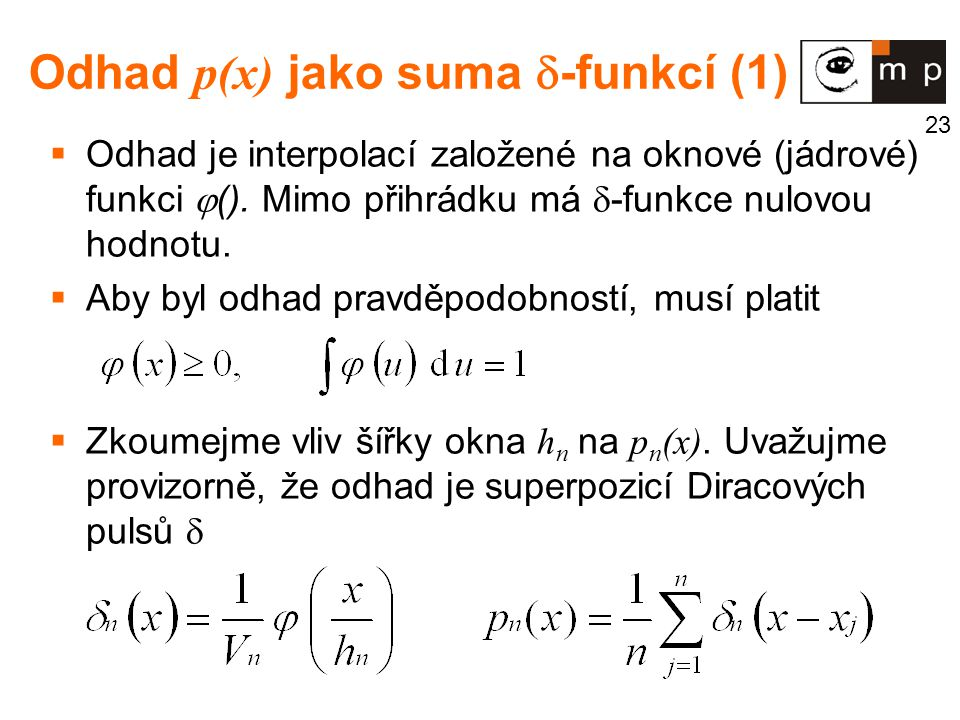 Odhad p(x) jako suma -funkcí (1)