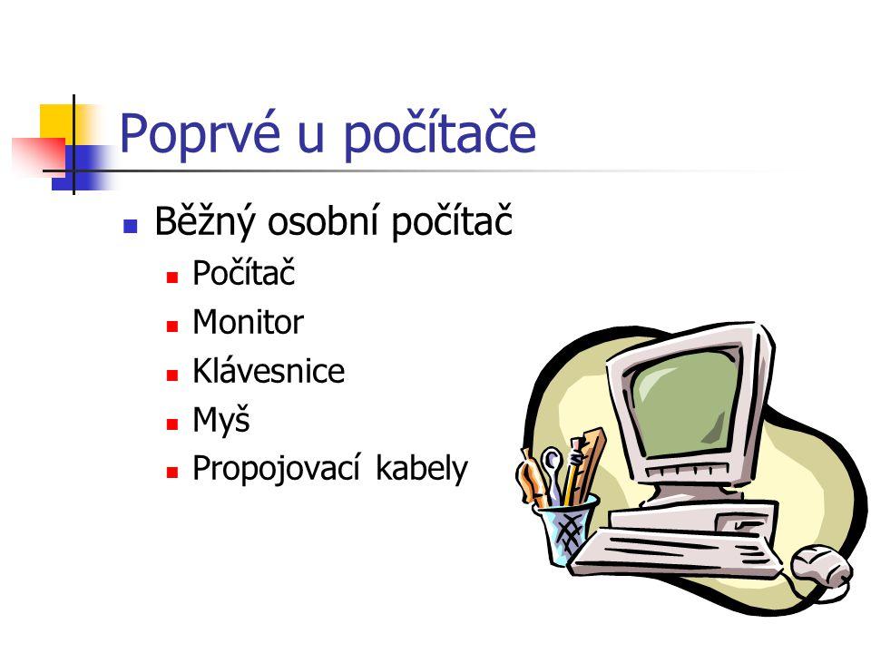 Poprvé u počítače Běžný osobní počítač Počítač Monitor Klávesnice Myš