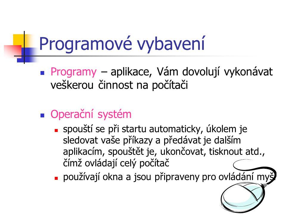 Programové vybavení Programy – aplikace, Vám dovolují vykonávat veškerou činnost na počítači. Operační systém.