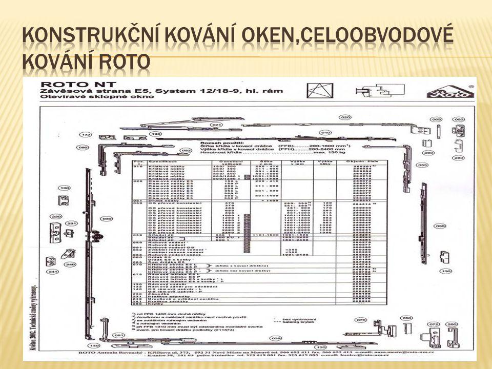Konstrukční kování oken,celoobvodové kování ROTO