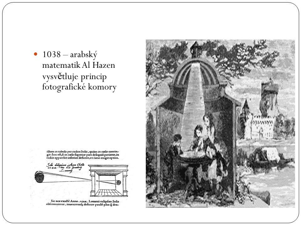 1038 – arabský matematik Al Hazen vysvětluje princip fotografické komory