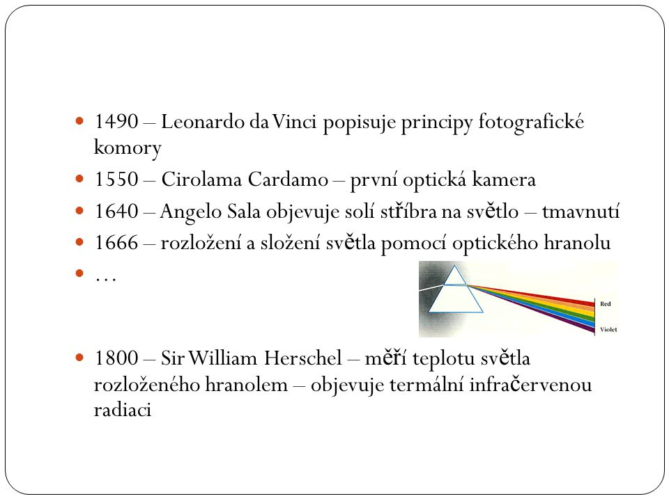 1490 – Leonardo da Vinci popisuje principy fotografické komory