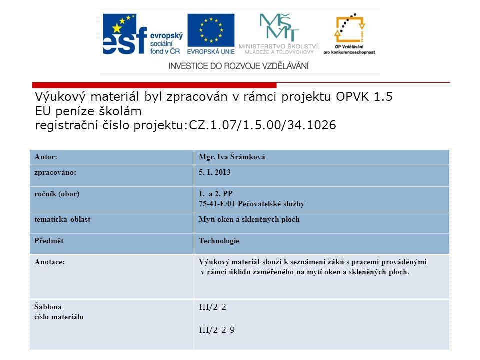 Výukový materiál byl zpracován v rámci projektu OPVK 1