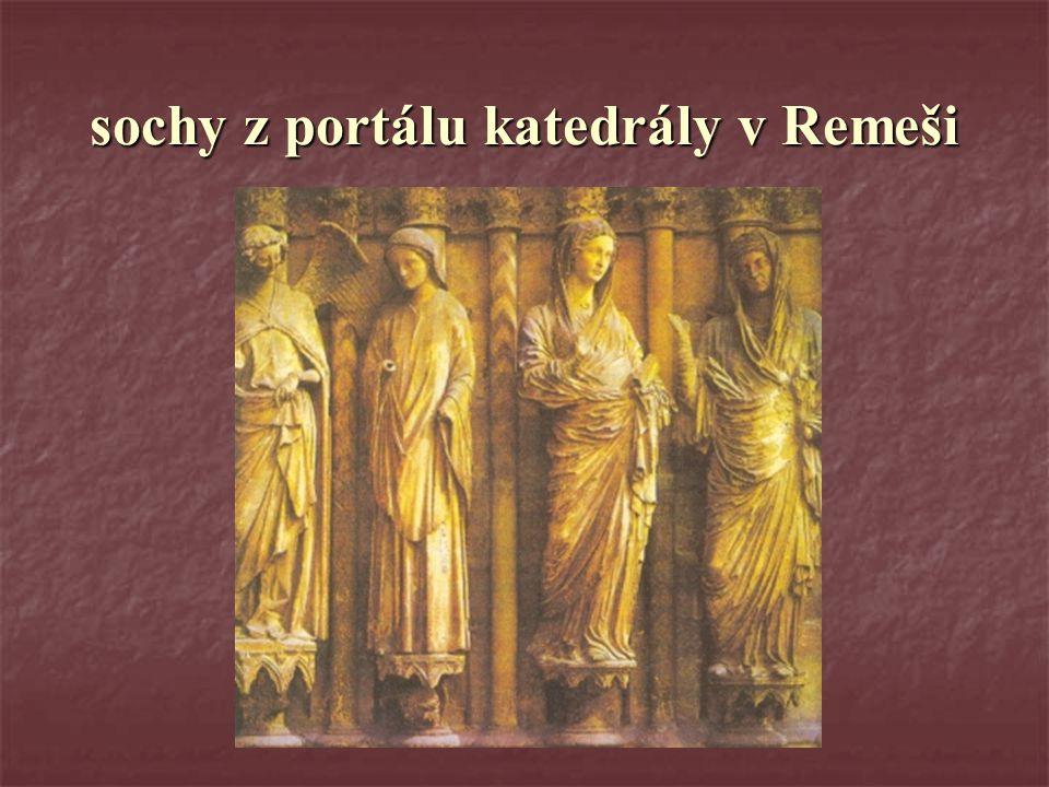 sochy z portálu katedrály v Remeši