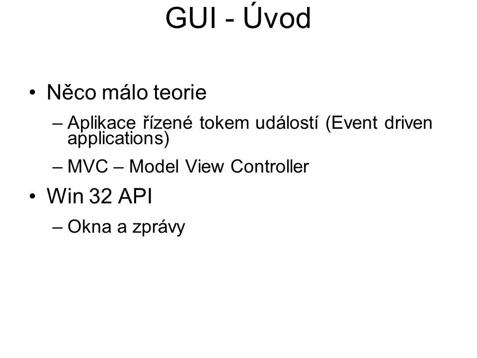 GUI - Úvod Něco málo teorie Win 32 API