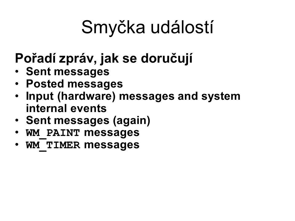 Smyčka událostí Pořadí zpráv, jak se doručují Sent messages