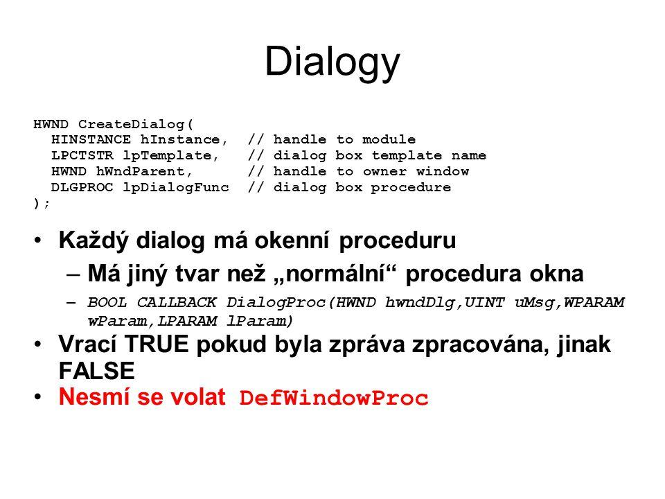 Dialogy Každý dialog má okenní proceduru