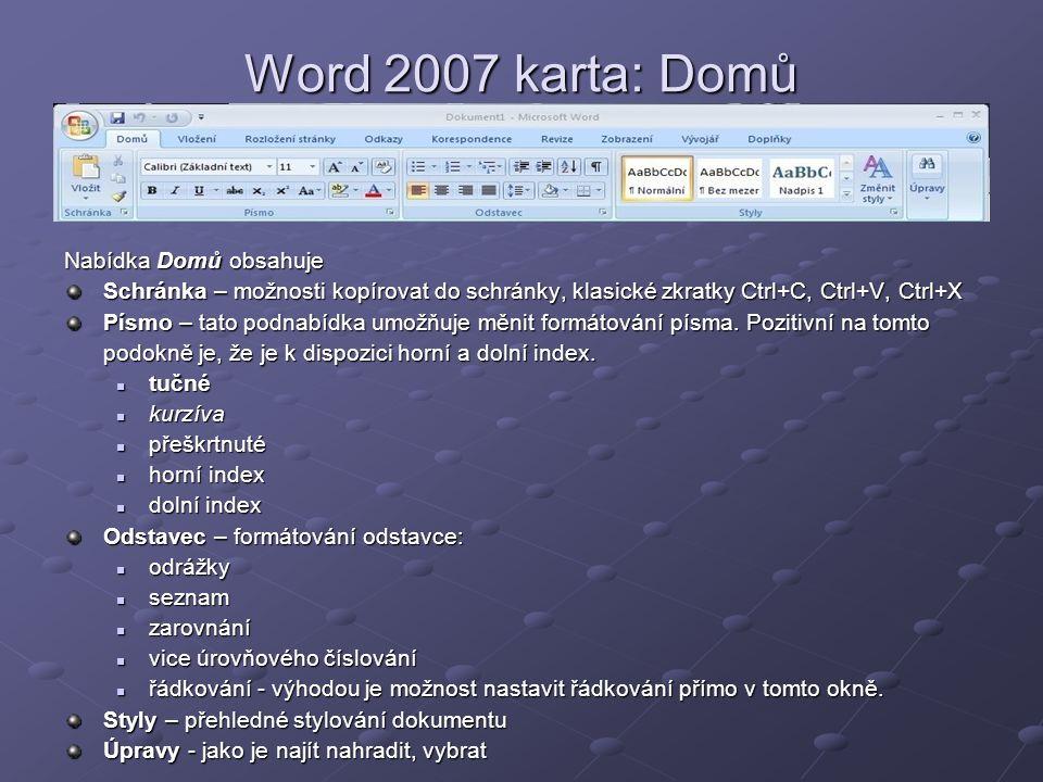 Word 2007 karta: Domů Nabídka Domů obsahuje