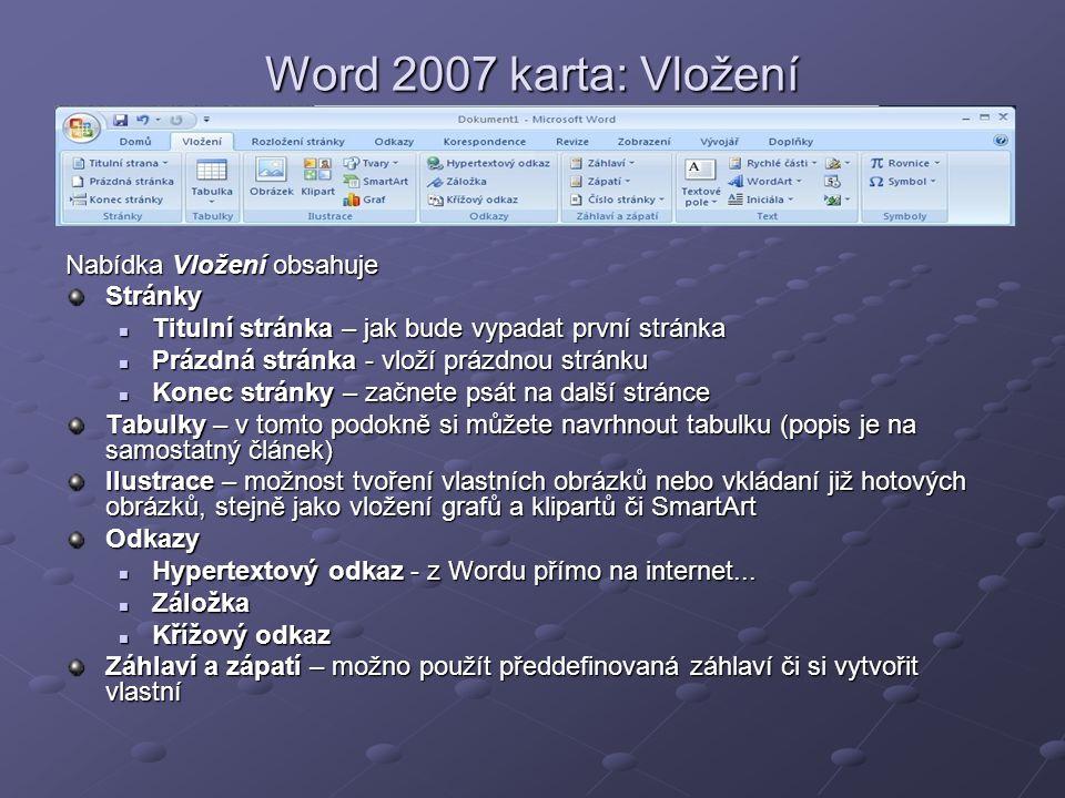 Word 2007 karta: Vložení Nabídka Vložení obsahuje Stránky