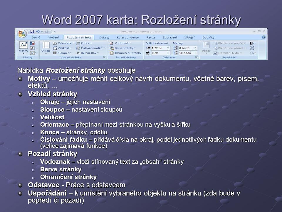 Word 2007 karta: Rozložení stránky
