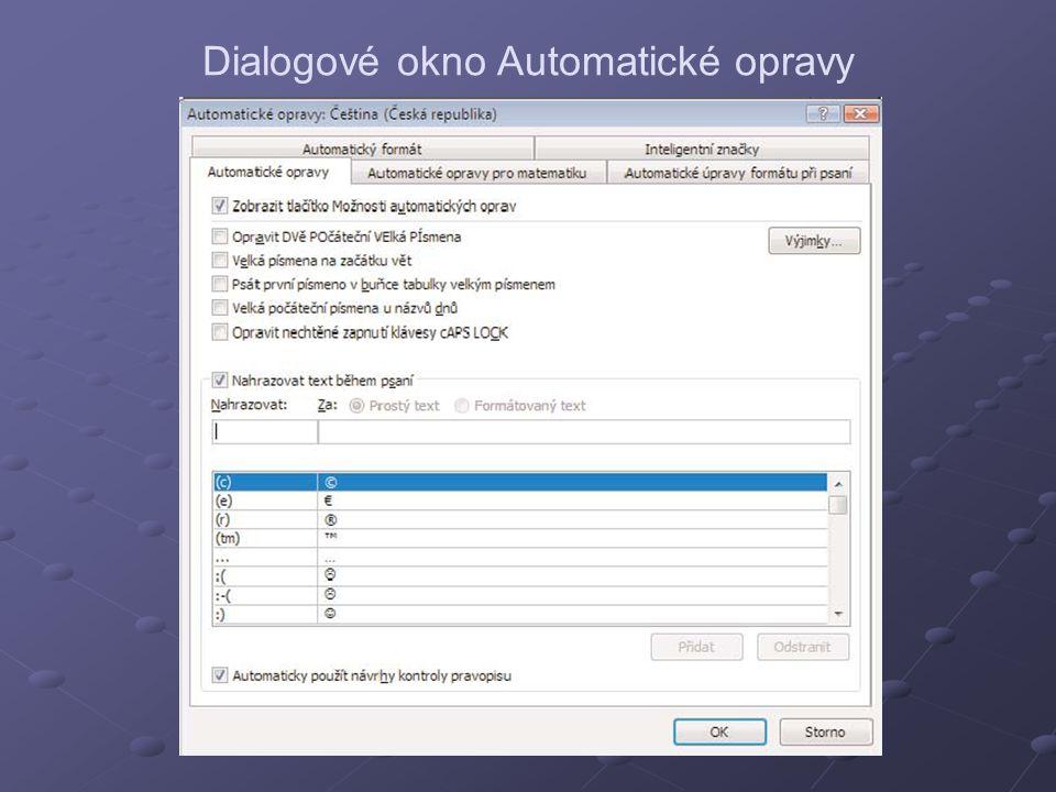 Dialogové okno Automatické opravy