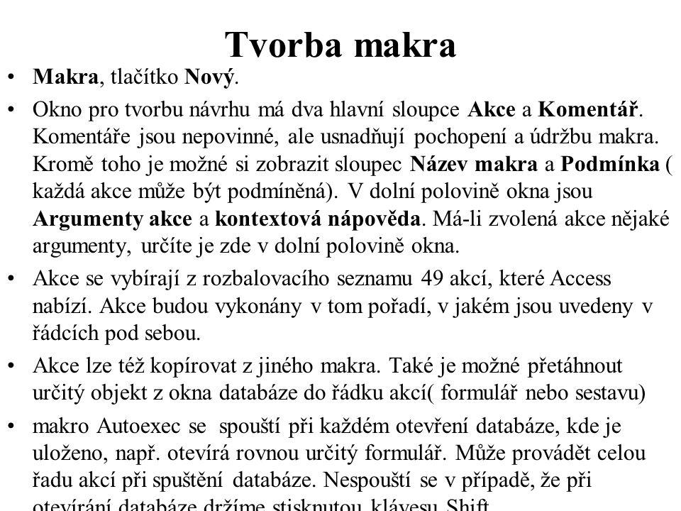 Tvorba makra Makra, tlačítko Nový.