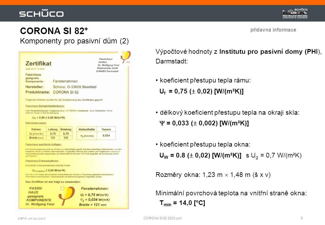 CORONA SI 82+ Komponenty pro pasivní dům (2)